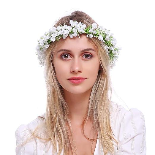 Eralove Wedding Flower Crown Boho Bridal Flower Headband Wreath Babies Breath Hair Headpiece