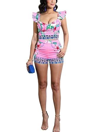 3393bf0d8 Amazon.com: Women Sexy Two Piece Outfits - Cute Ruffle Shoulder Crop Top +  Skinny Shorts: Clothing