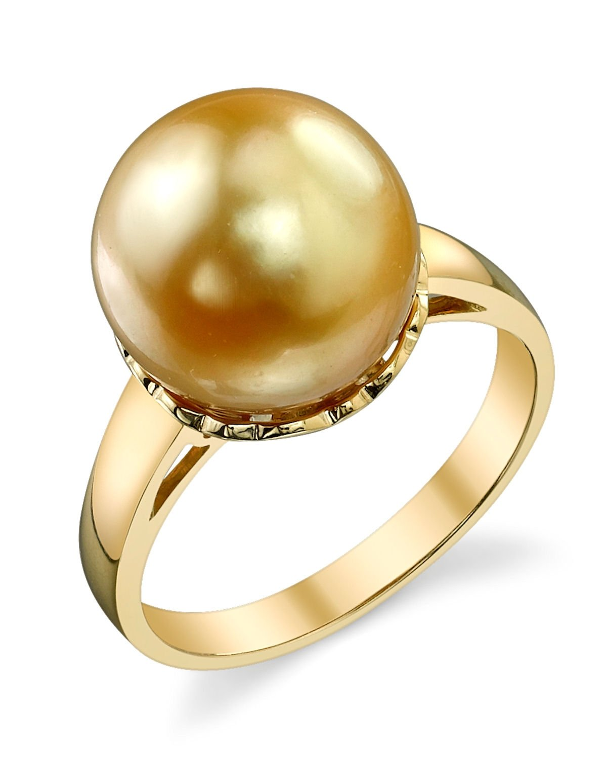 11mm Golden South Sea Cultured Pearl Laurel Ring in 14K Gold