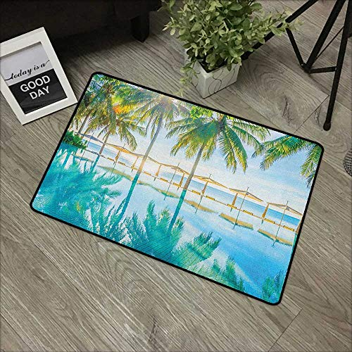 Buck Haggai Flowers Doormat Entrance Mat Landscape,Pool by The Beach with Seasonal Eden Hot Sunny Humid Coastal Bay Photography, Green Blue,for Entry, Garage, Patio, High Traffic Areas,20