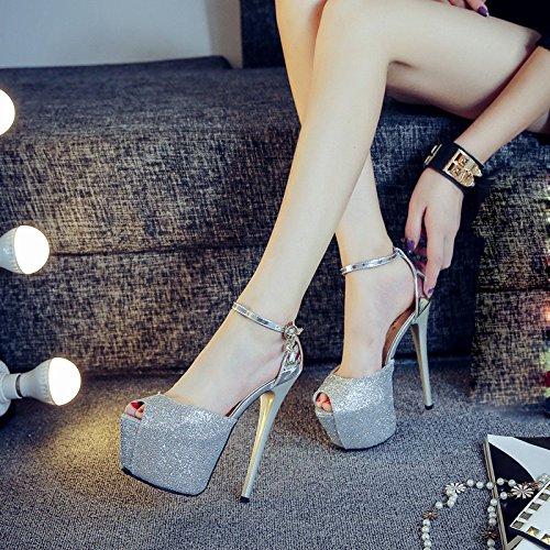alto Zapatos tacón sandalias femenino Plata DYY nightclub pescado boca de de palabra sexy de plataforma hebilla impermeable dtqOnxOS