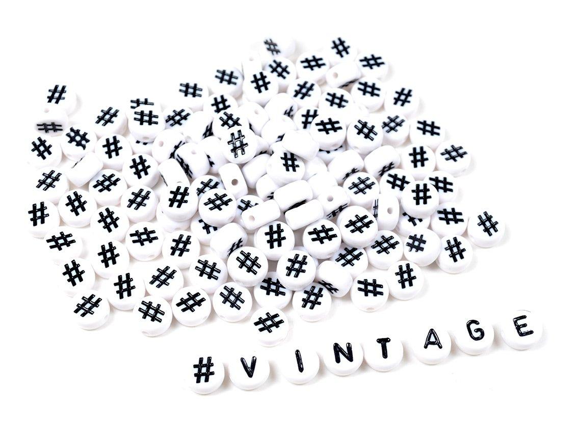 Kunststoffperlen 100 Stück Acrylperlen Ø 7 mm Zwischenperlen Hashtag