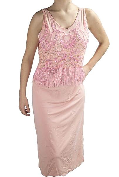 Maria di Ripabianca Abito Donna Tubino Elegante XL Rosa - Corpetto Perline  Strass Charleston  Amazon.it  Abbigliamento d706a99ae4a