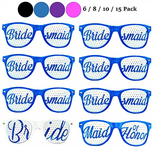 Bachelorette4Ever Set of 6/8/10/15 Bachelorette Party Sunglasses in 4 Colors (Black/Blue/Purple/Pink) - Party Sunglasses for Wedding, Ceremonies & - (8 Pack, - Wedding Sunglasses