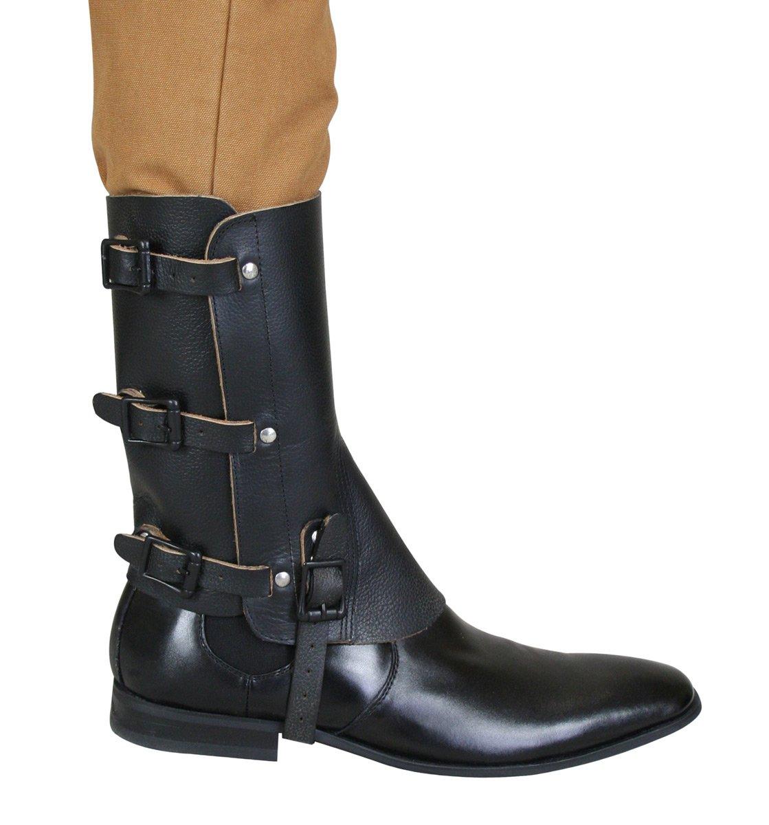 Historical Emporium Men's Deluxe Leather Military Gaiters Black