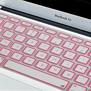 "Masino® Silicone Keyboard Cover Ultra Thin Keyboard Skin for MacBook Air 13"" MacBook Pro with or without Retina Display 13""15"" 17"" Apple Wireless Bluetooth Keyboard MC184LL/B (Clear with Pink Frame)"