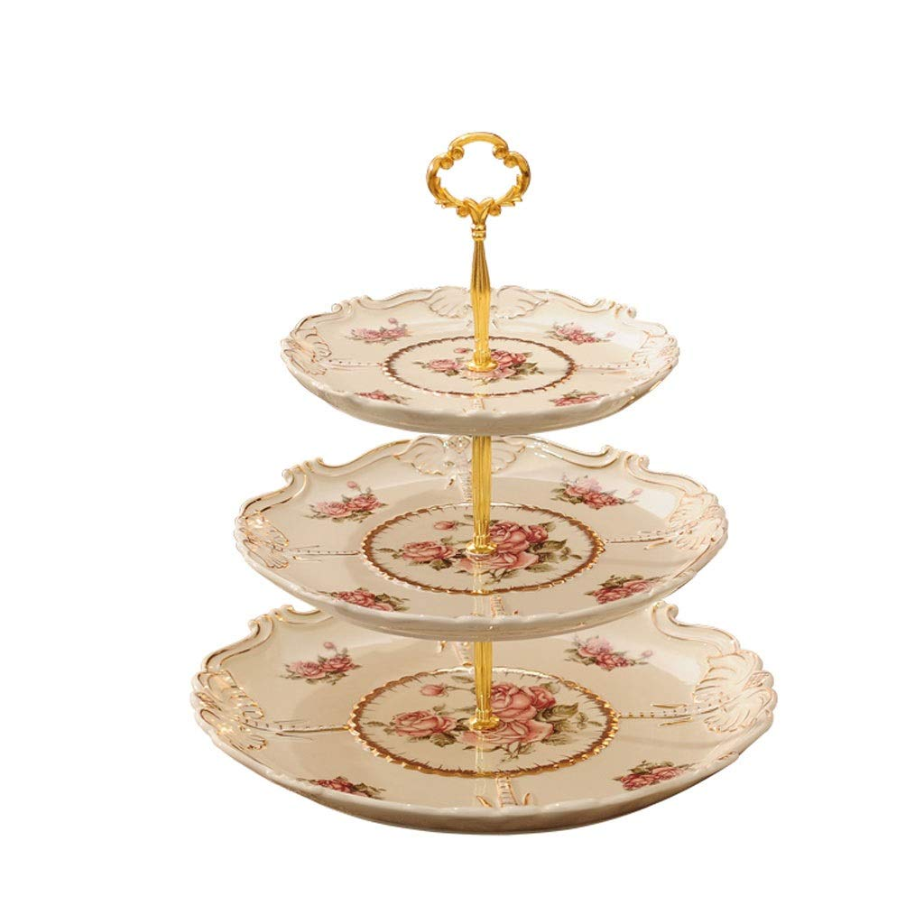 3-layer Candy Dessert Table Storage European Cake Display Tray Double Cake Tray Afternoon Tea Snack Rack (Color : Gold, Size : 3layers)