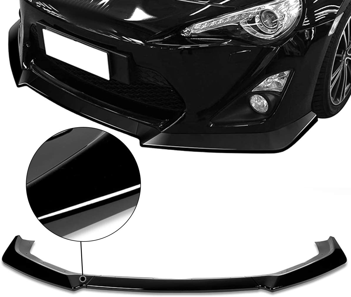 DNA Motoring 2-PU-506-PBK 3Pc Glossy Black ABS Front Bumper Lip with Vertical Stabilizer Replacement For 13-16 FRS