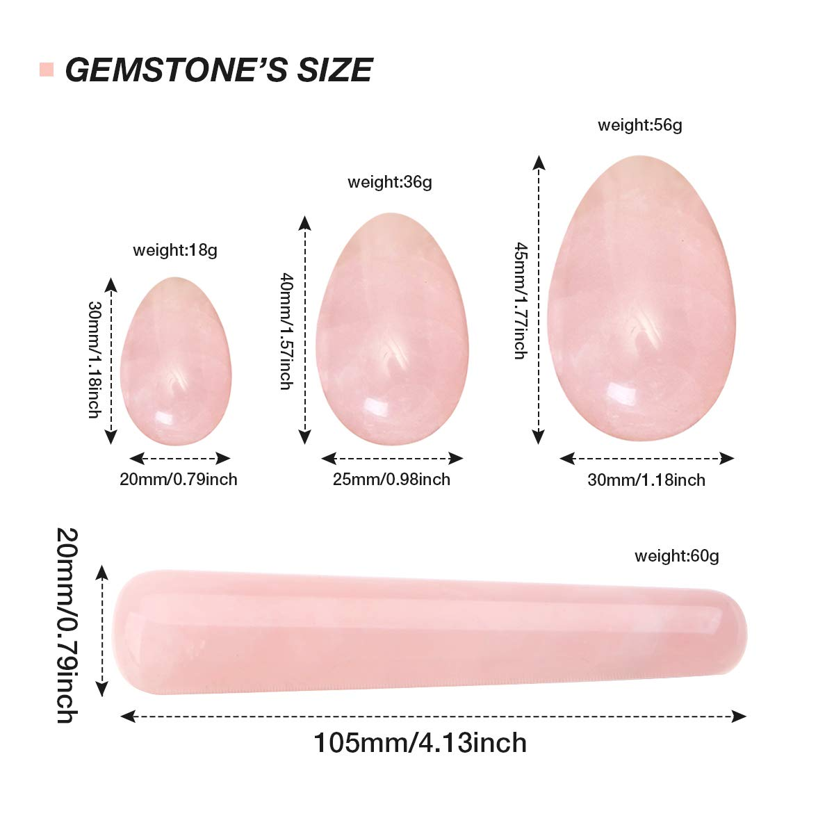 1/pcs Masaje Charminer 3/pcs perforado NATURAL cuarzo de cristal rosa Jade huevos Yoni huevos Stick para ejercicios 4/piezas Set