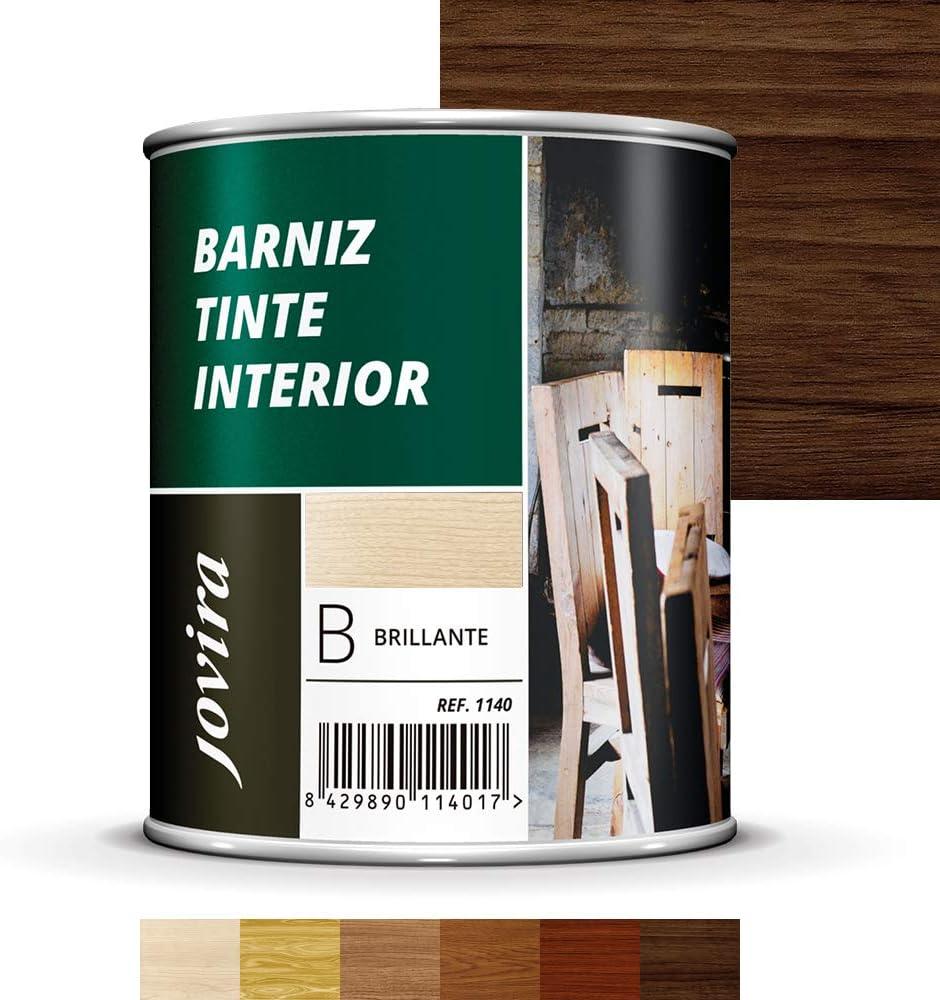 BARNIZ TINTE INTERIOR BRILLANTE, Barniz madera, Protege la madera, Decora y embellece la madera (750ML, NOGAL)