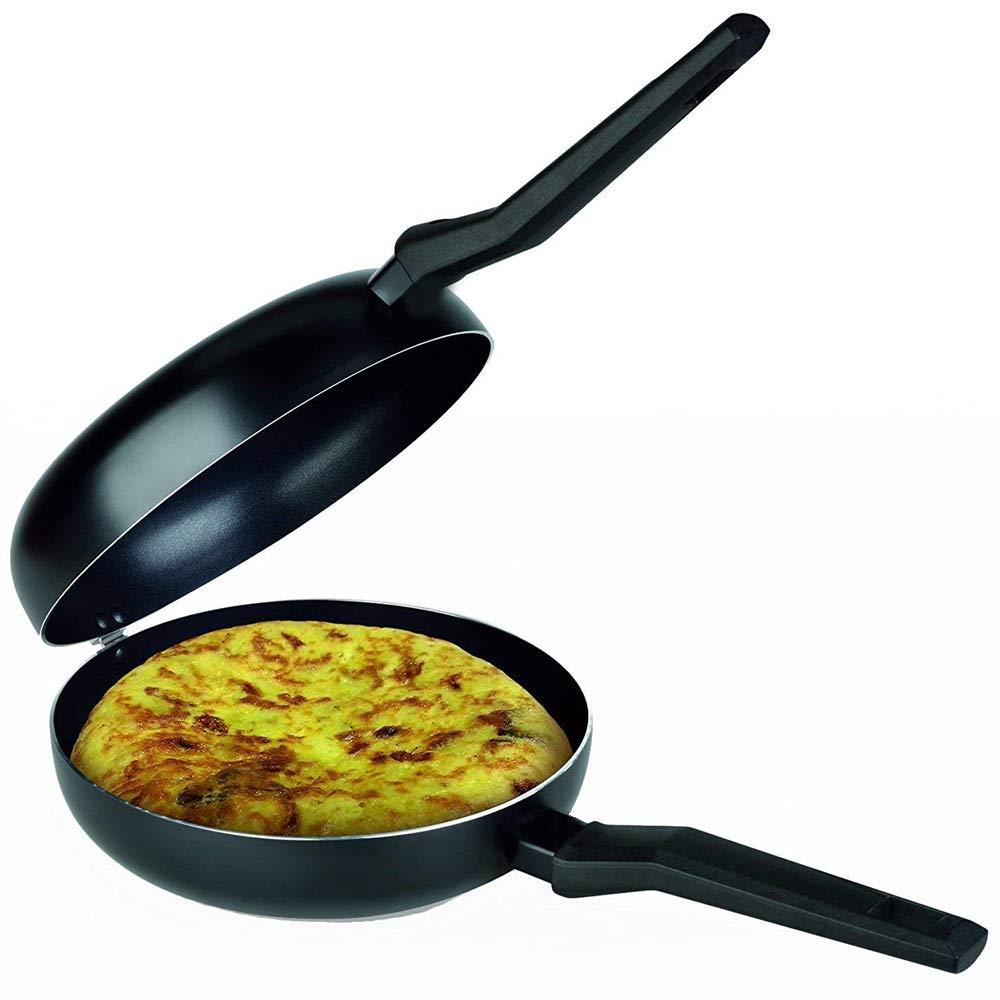LS Kitchen - Doble Sartén Voltea Tortillas - Inducción - Diámetro 24 cm - Negra