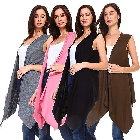 3bd1e3c0e31ac4 4 Pack Women s Long Flyaway Cardigan Vest - Open Front Sleeveless at Amazon  Women s Clothing store