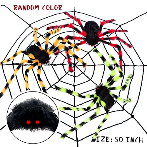 VeMee [Multi -Color] Halloween Spider, Large Size Plush Spider, Fake Large Hairy Spider Props, Scary Spider Haunted House Prop Prank Funny Spooky Toys, Indoor Outdoor, Bar KTV, Halloween Decoration