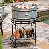 Beverage Tub with Rolling Cart and Tray is the perfect edition for all your indoor and outdoor occasions. It is the perfect option for entertaining guests and family at your parties. The galvanized steel tub paired with ice will keep your sod...
