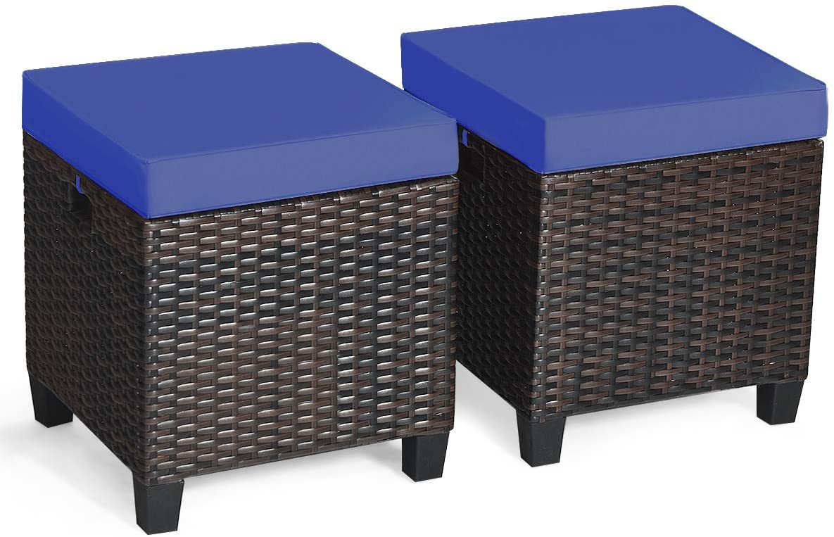 Tangkula 2 Pieces Outdoor Patio Ottoman, All Weather Rattan Wicker Ottoman Seat, Patio Rattan Furniture, Outdoor Footstool Footrest Seat w/Removable Cushions (Navy Blue)