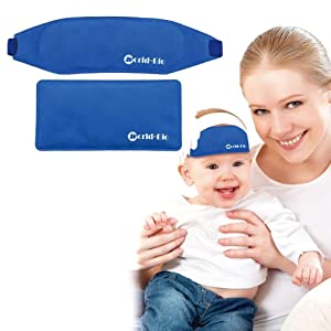 WORLD-BIO Fever Cooling Pad & Reusable Ice Gel Eye Mask for Baby Kids Toddler, Hot Cold First Aid Patch for Migraine Relief, Bruises Smoothing, Bumps Therapy, Set of 2