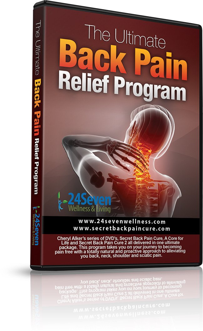 The Ultimate Back Pain Relief Program by 24Seven Wellness & Living. Three Separate One Hour DVD's Including Yoga Type Stretches, Pilates Based Core and Strength Exercises.