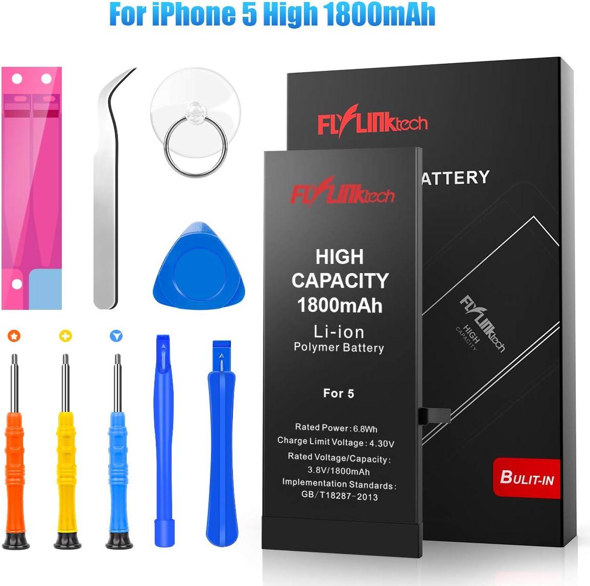 Batería para iPhone 5 1800mAH Reemplazo de Alta Capacidad, FLYLINKTECH Batería con 25% más de Capacidad Que la batería Original y con Kits de Herramientas de reparación