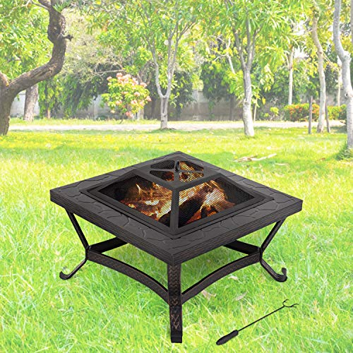 FDW Outdoor fire Pit for Wood 25″ FirePit MetalFire Bowl Fireplace Backyard Patio Garden Stove with Charcoal Rack, Poker
