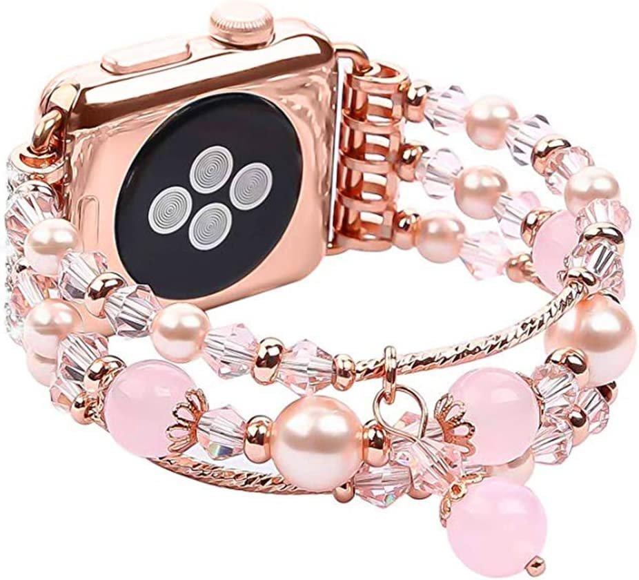 Jewelry Bracelet Watch Bands Compatible w/ Apple Watch Band 42mm/44mm Series 5 4 3 2 1, Fixed Size 6.7-8.3, Replacement Handmade Wristbands for Iwatch Strap Women(42/44MM, Rose Gold, Short)