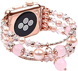 Jewelry Bracelet Watch Bands Compatible w/ Apple Watch Band 42mm/44mm Series 5 4 3 2 1, Fixed Size 6.7-8.3, Replacement Handmade Wristbands for Iwatch Strap Women/Girls (42/44MM, Rose Gold, Long)
