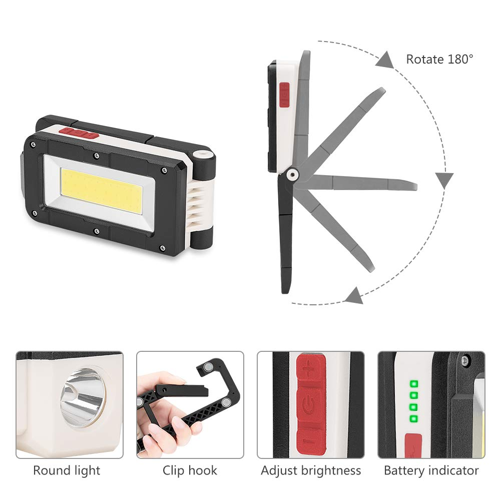 Portable Magnetic Camping Outdoor Work Torch Light for Car Emergency Repairing Batteries Included LED Work Light Torch USB Rechargeable Work Light with Power Display,2 Light Sources Inspection Lamp