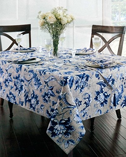 Amazon.com: Waterford Linens Fabric Tablecloth Oblong Rectangular Blue And  White Leaf Floral Pattern On Beige 60 X 84: Home U0026 Kitchen
