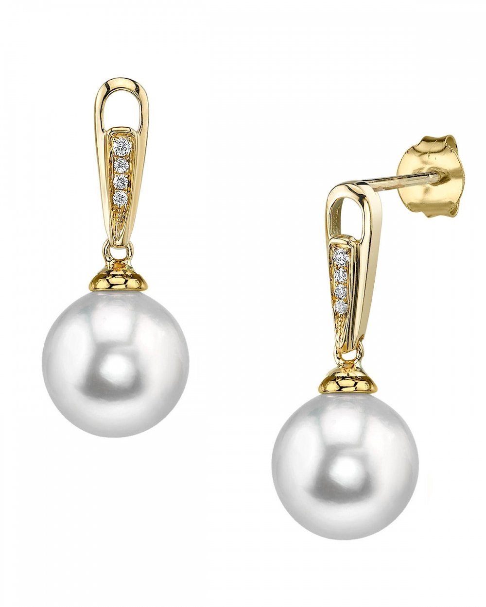 14K Gold 10mm White South Sea Cultured Pearl & Diamond Bailey Earrings