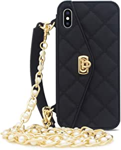 iPhone ase Cover with Crossbody Handbag Wallet Case for Women Girls Design with Credit Card Holder Purse Protective Cover Rubber Silicone Bumper Shockproof (X/XS, Black)