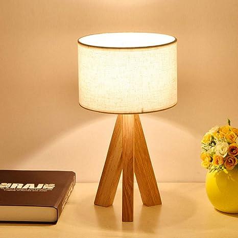 Lámpara de mesa de tela/de madera original japonesa/dormitorio/sala de estar/estudio/protección ocular/decoración/lámpara de noche (white)