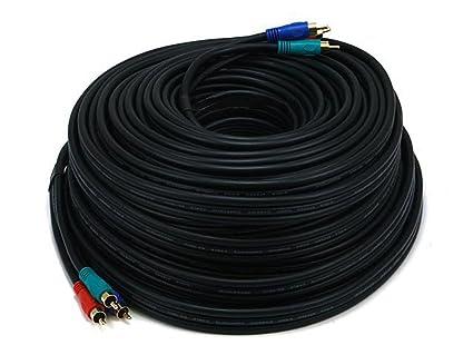 Monoprice – 100 FT 22 AWG 3-RCA vídeo por componentes Cable Coaxial (RG