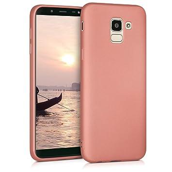 kwmobile Funda para Samsung Galaxy J6 - Carcasa para móvil en [TPU Silicona] - Protector [Trasero] en [Oro Rosa Metalizado]