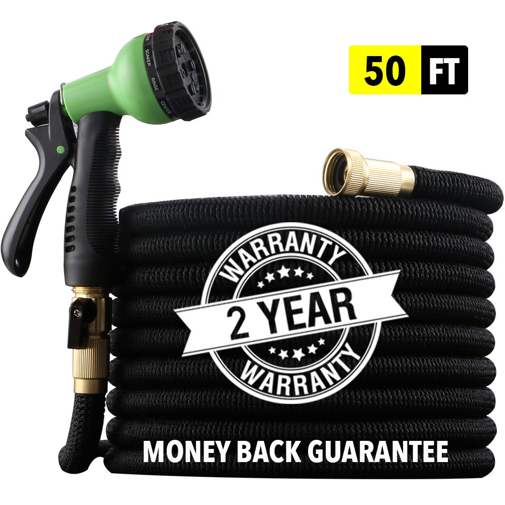 "EnerPlex [2019 Upgraded] X-Stream 50 ft Non-Kink Expandable Garden Hose, 10-Pattern Spray Nozzle Included, 3/4"" Brass Fittings with Shutoff Valve, Best 50' Foot Garden Hose - 2 Year Warranty - Black by EnerPlex"