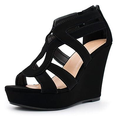9354d30e75 Women's Wedge Sandal Cutout Strappy Back Zipper High Heel Party Platform  Summer Shoes Black 6