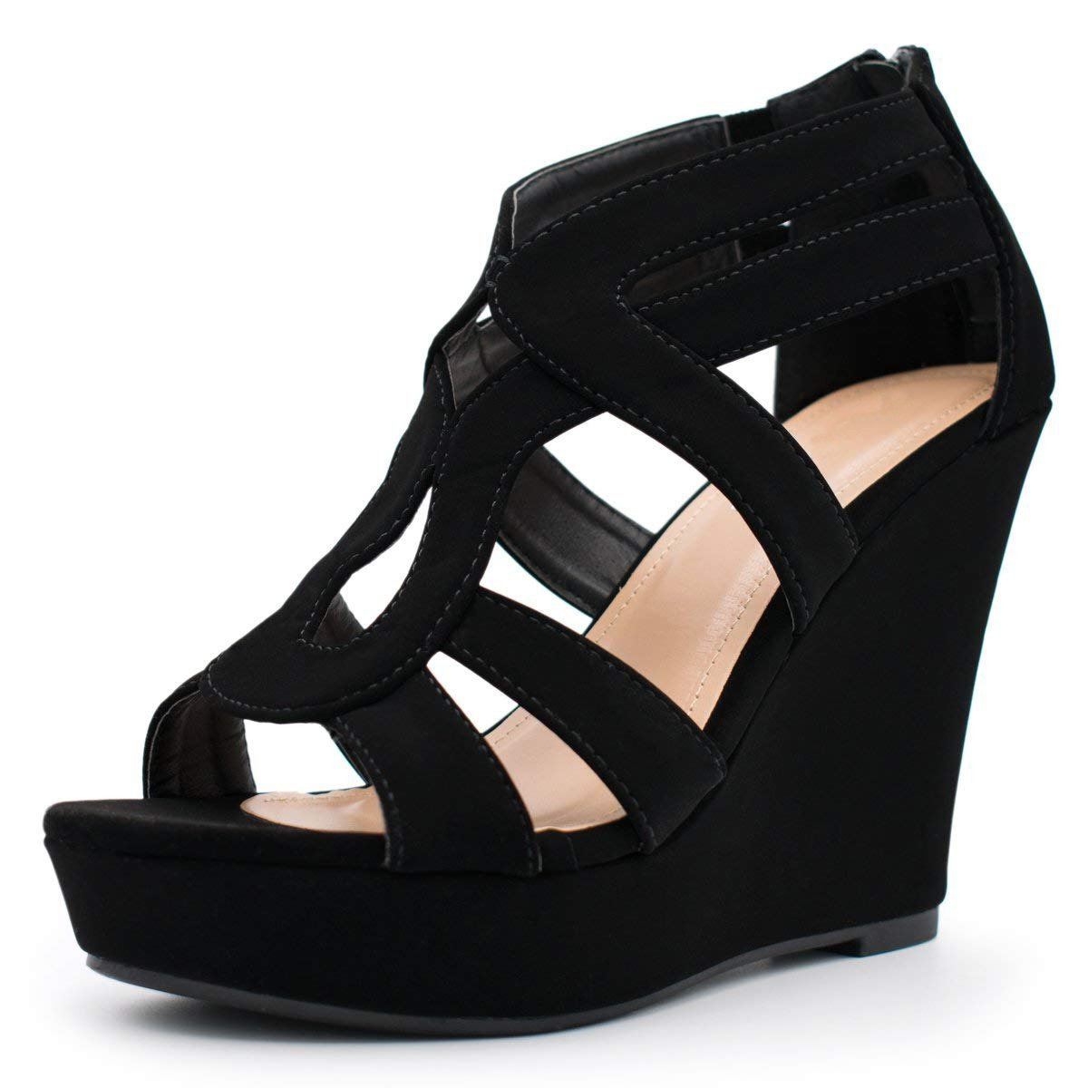 Women's Wedge Sandal Cutout Strappy Back Zipper High Heel Party Platform Summer Shoes Black 7