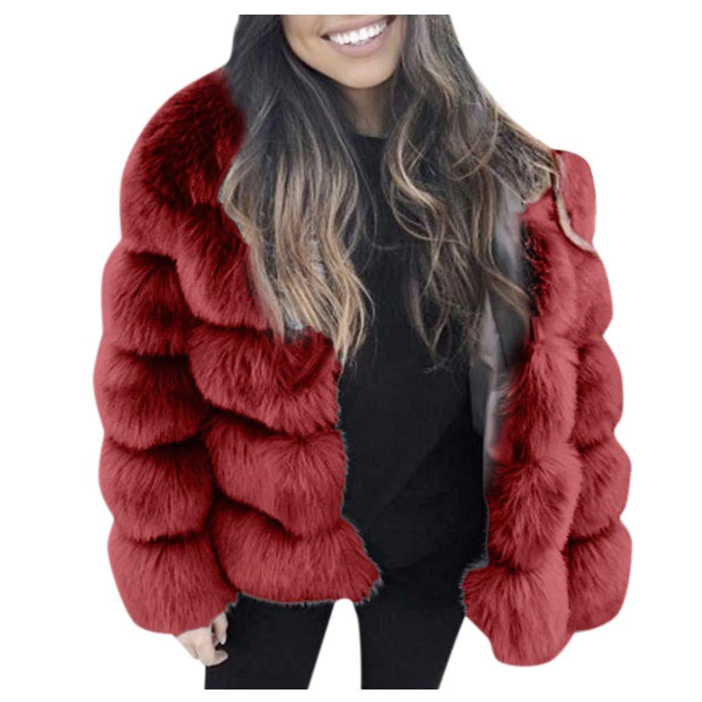 Eoeth Women Faux Fur Shearling Shaggy Coat Thick Jacket Warm Furry Long Sleeve Outerwear Solid Overcoat Warm Winter Wine by Eoeth