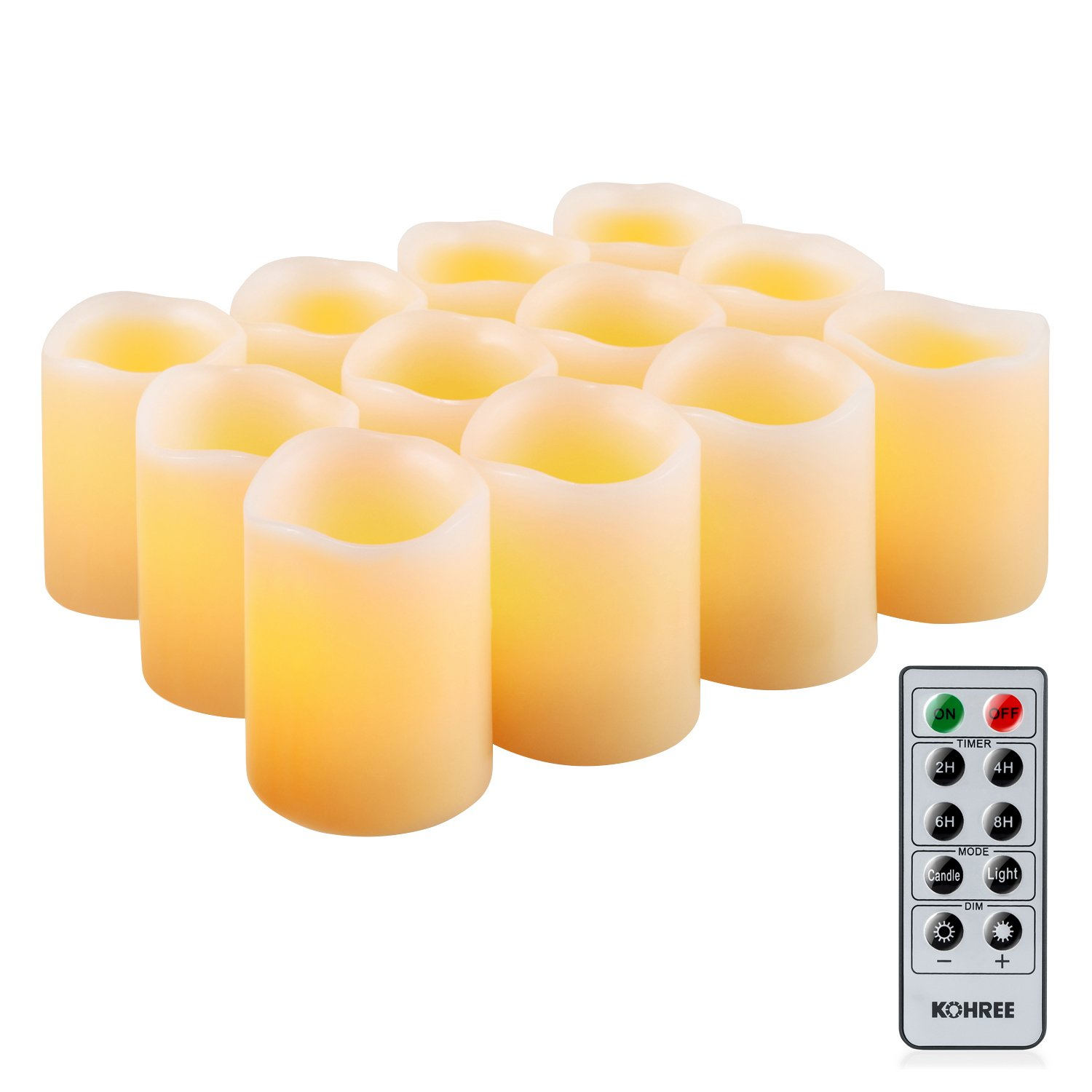 Kohree Flameless LED Candles Real Wax Remote Control Candles Battery Operated Retro Unscented Ivory Votive Pillar Candles Light Warm White Pack of 12