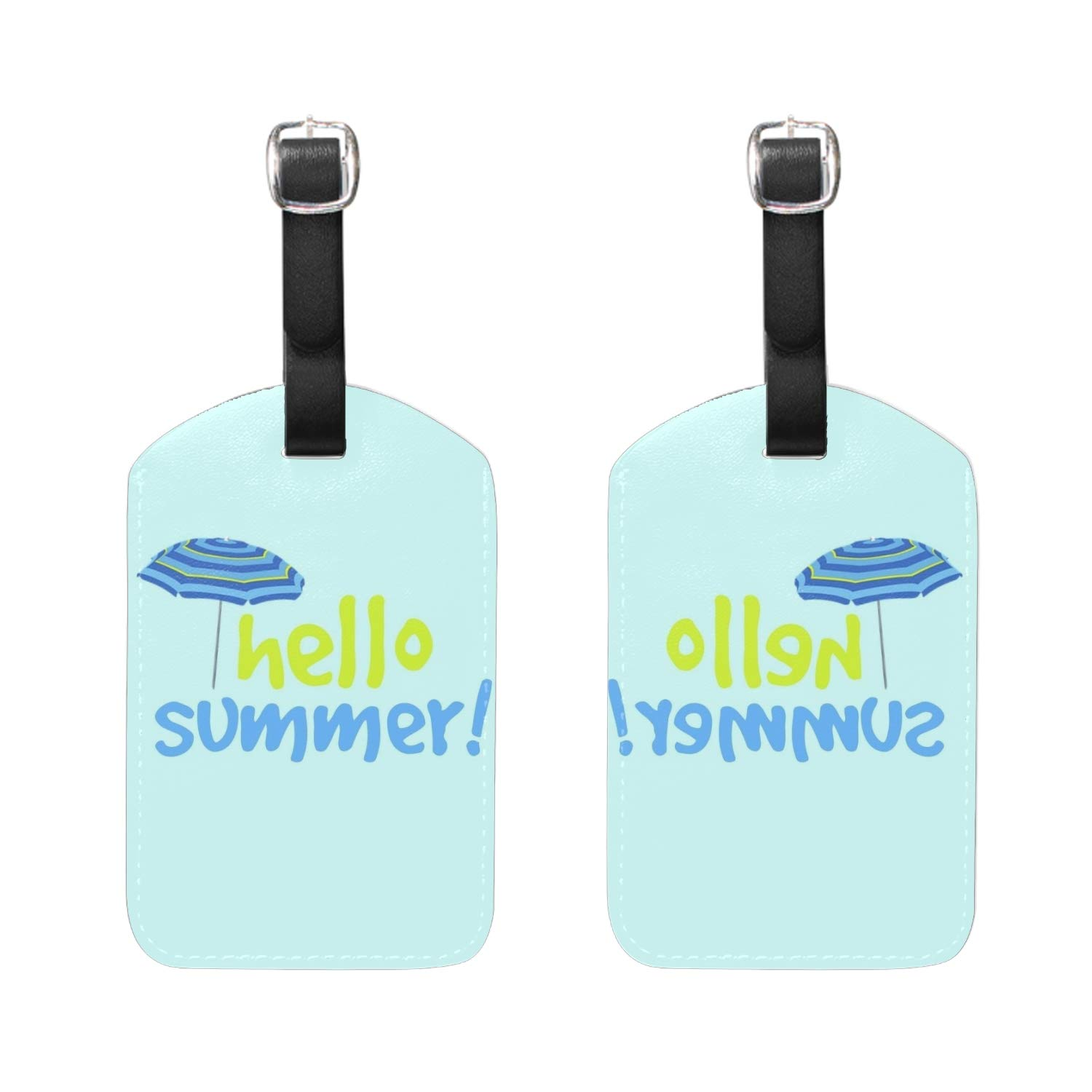 Happy Pineapple Print Luggage Identifiers with Strap Closure