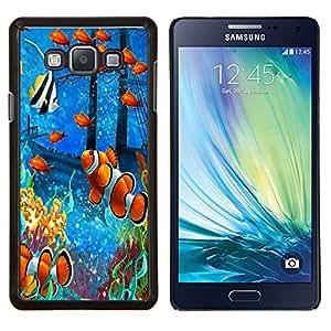 YiPhone /// Prima de resorte delgada de la cubierta del caso de Shell Armor - Pintura de los pescados de mar subacuática Coral Koi - Samsung Galaxy A7 A7000