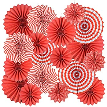 18Pc Party Hanging Paper Fans Set Decorative Red Folding Fans Party Decorations Round Fan Wall Decor Paper Garlands Flower Decoration for Birthday Festival Party Wedding Graduation Events Accessories