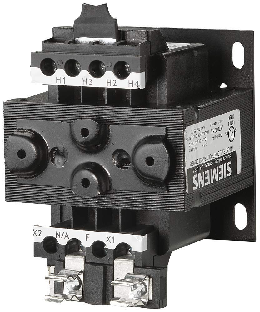 Siemens MT0075A Industrial Power Transformer, Domestic, 240 X 480, 230 X 460, 220 X 440 Primary Volts 50/60Hz, 120/115/110 Secondary Volts, 75VA Rating