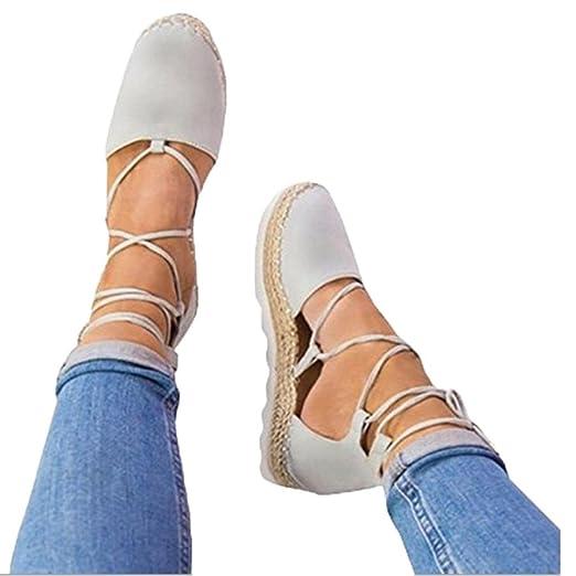 Calzado Chancletas Tacones Zapatos de Verano Alpargatas Planas con Cordones para Mujer Sandalias de Vacaciones Zapatos con Correa ❤ Manadlian: Amazon.es: ...