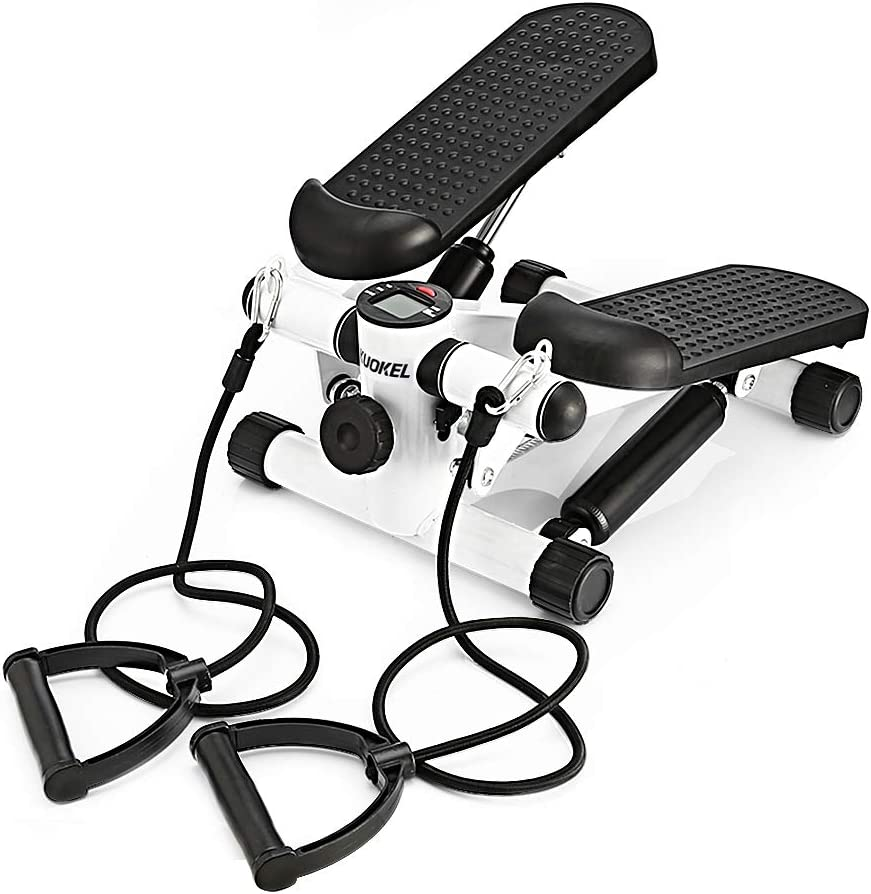 KUOKEL Mini Stepper,Fitness Stair Stepper – Portable Twist Stair Stepper Adjustable Resistance,Fitness Exercise Machine with Resistance Bands Durable LCD Display and Comfortable Foot Pedals
