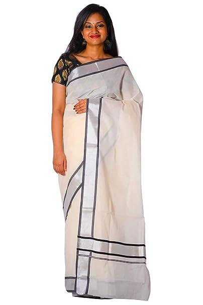 5bec0e6f7aa Southloom Kerala Silver Kasavu and Black Colour Border Saree  Amazon.in   Clothing   Accessories