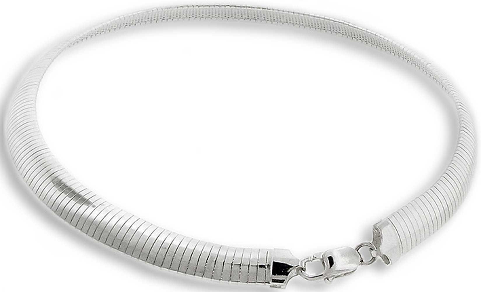 10mm Italian .925 Sterling Silver FLAT DOME Omega Chain Necklace Nickel Free 16in, 18in & 20inIncludes FREE Polishing & Cleaning Cloth (.925 Italian Sterling Silver, 18 Inches)