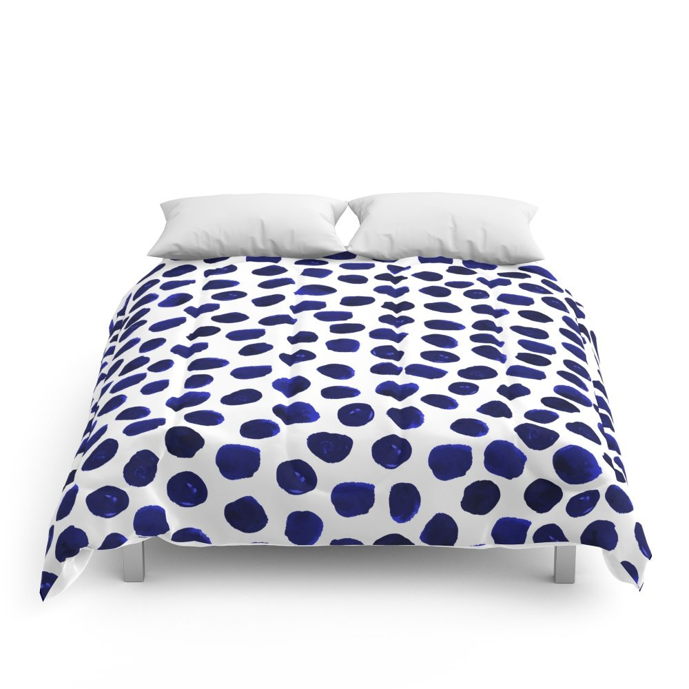 Society6 Indigo Spots Dots Minimal Modern Abstract Painting Boho Dorm College Decor Monochromatic Nautical Comforters Queen: 88'' x 88''