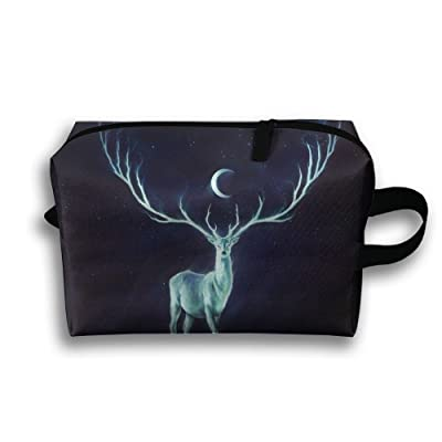 Yiot Deer Horns Moon Stars Travel Toiletry Organizer Bag