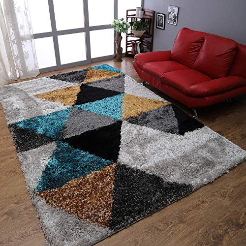 Rugsotic Carpets Hand Tufted Shag Polyester 10'x14' Area Rug Geometric Multicolor K00008