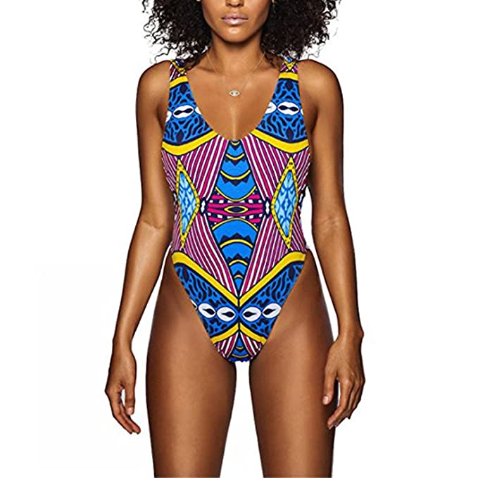 0f48761c56f Women High Cut Backless African Print One Piece Monokini Swimsuit S