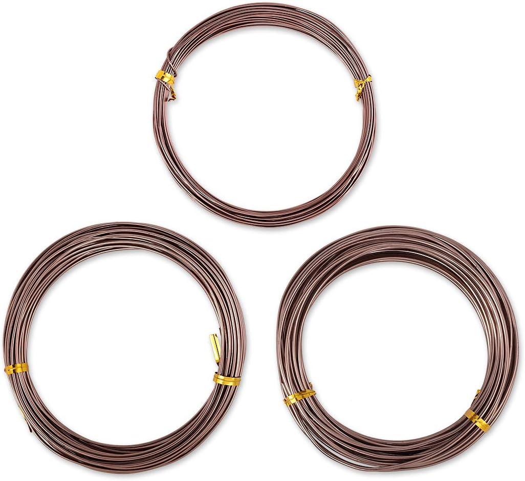 SCSpecial 3 piezas 10m Bonsai Wire Craft Alambre de aluminio Bonsai Training Tools (1.0 mm / 1.5 mm / 2.0 mm, 10 m por cada tamaño) (Marrón)